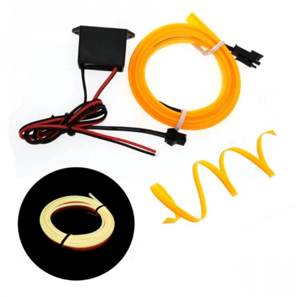 Neon İp Fitil - Işıklı Torpido Fitili Neon İp - 2 Metre Araç İçi Torpido ledi