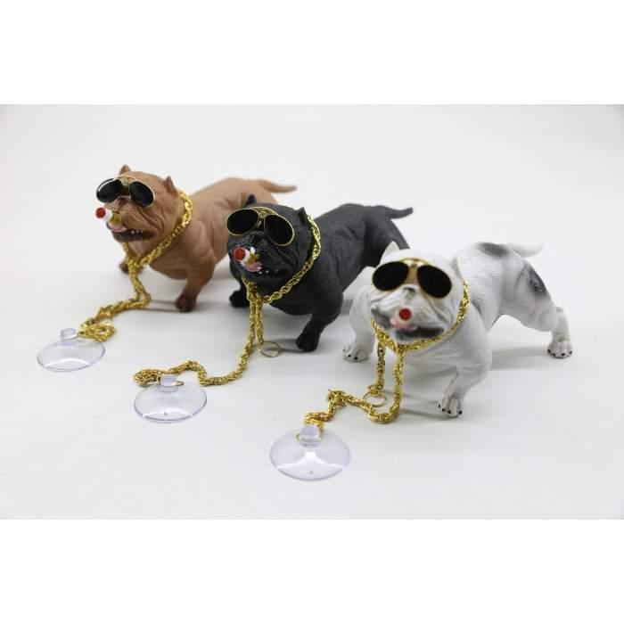 Pitbull Oto Dekor Torpido Süsü - Similasyon Köpek Zincirli Model